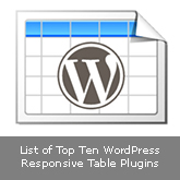 List of Top Ten WordPress Responsive Table Plugins