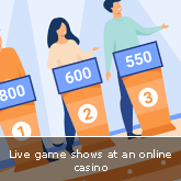 Live game shows at an online casino